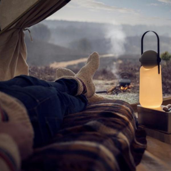 Designerlamp met uitzicht op vuur